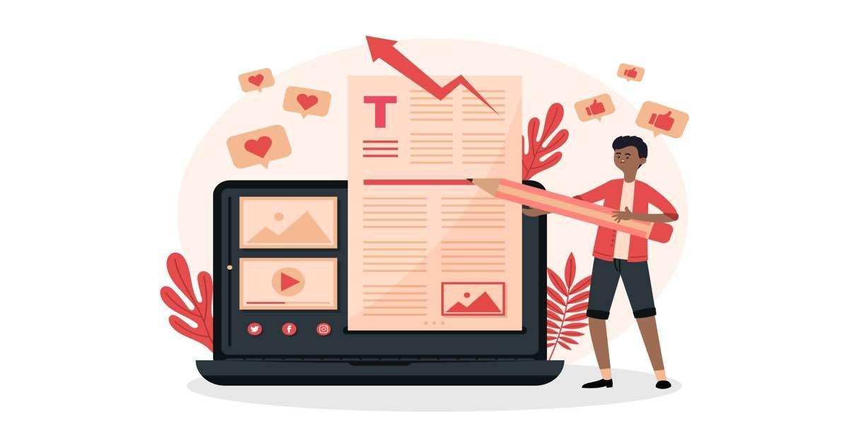 Ilustración con un ordenador portátil abierto y mostrando una web con un blog