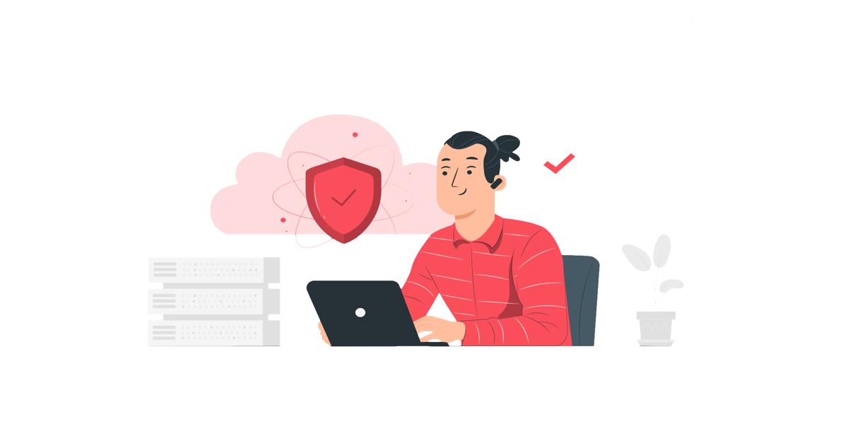Ilustración donde aparece una persona con su ordenador portátil y un símbolo de seguridad sobre él.