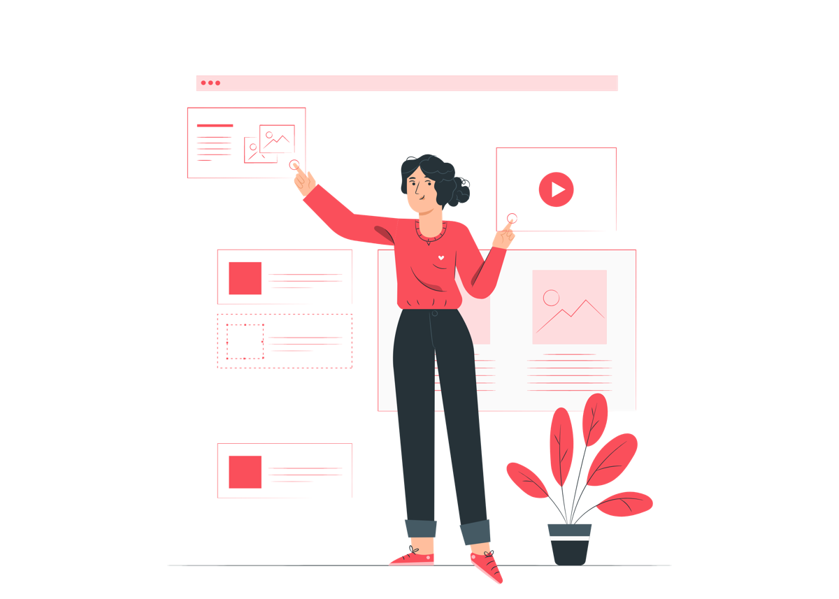 Mujer diseñando el aspecto de su sitio web