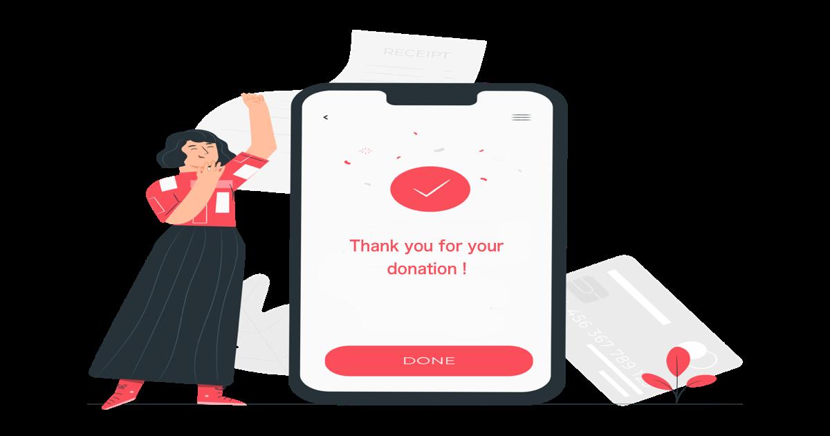 Ilustración de una mujer celebrando que ha podido realizar una donación mediante su dispositivo