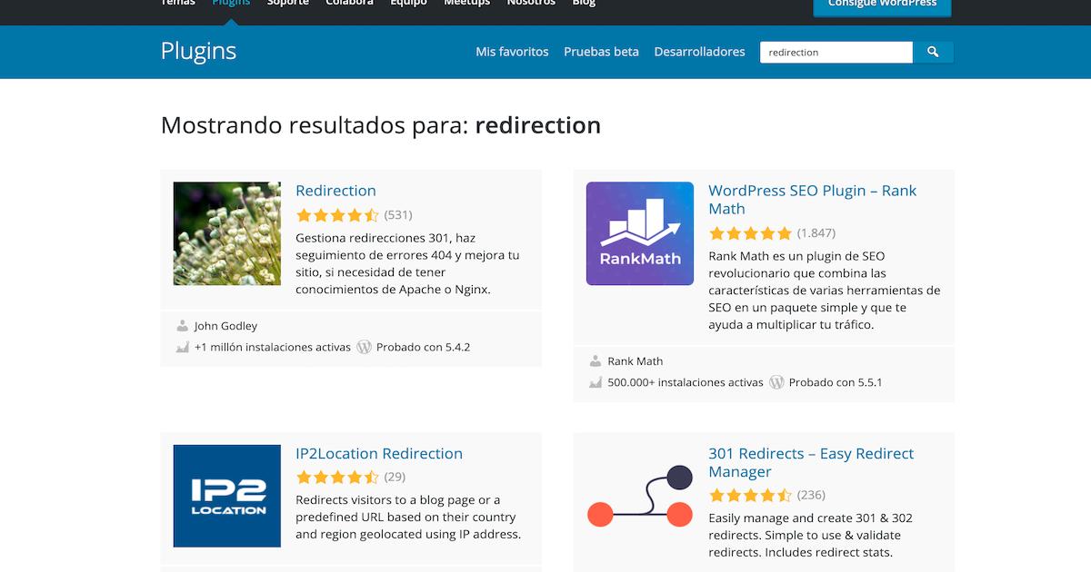 Búsqueda de plugins para la redirección web en la página oficial de WordPress