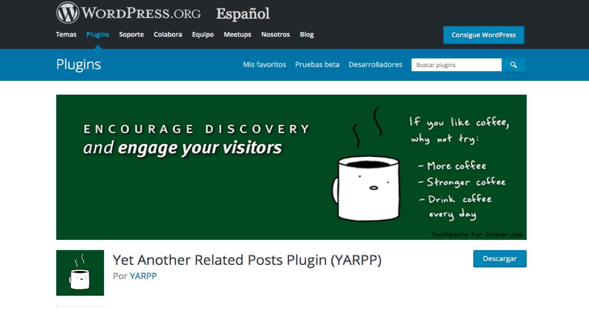 Imagen promocional de YARPP en el repositorio de plugins de WordPress