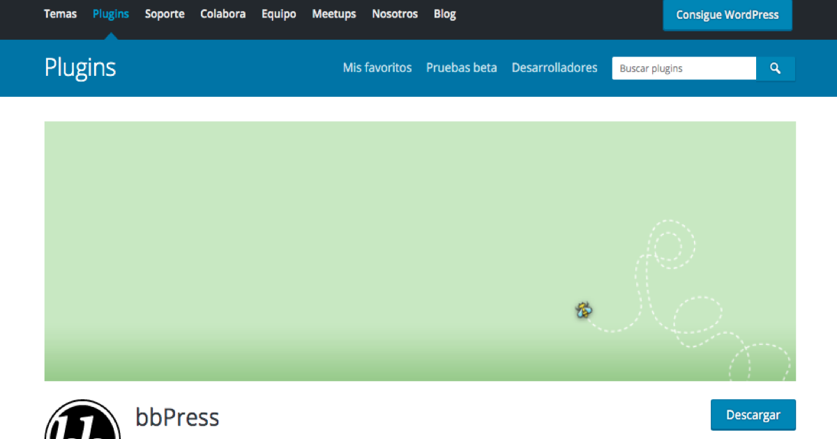 Página de bbPress en la web de plugins de WordPress