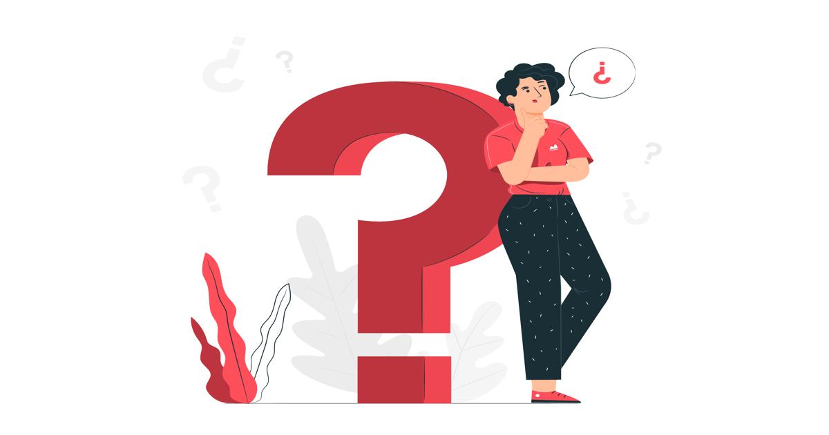 Ilustración donde aparece una mujer apoyando su espalda sobre un gran signo de interrogación