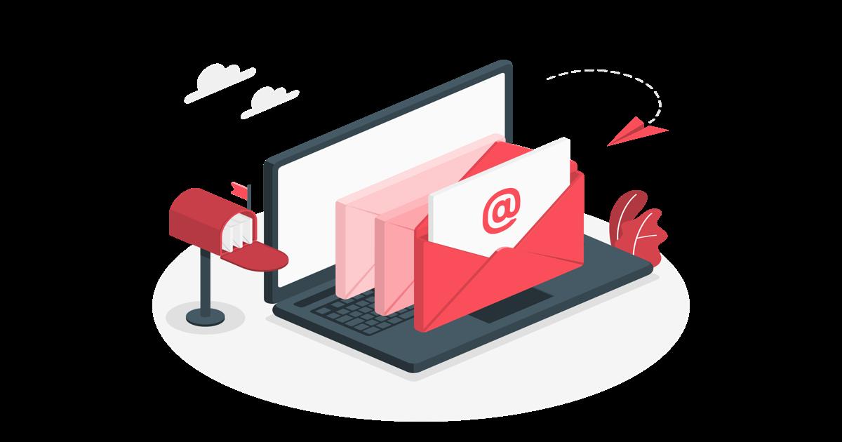 Ilustración simbolizando email marketing con sobre abiertos frente a una pantalla de ordenador portátil, con un símbolo de @ en su interior.