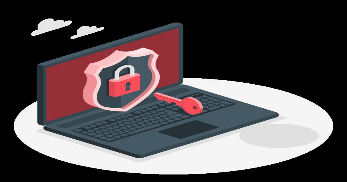 Diseño gráfico de un ordenador portátil con un símbolo de seguridad y un candado en su interior.