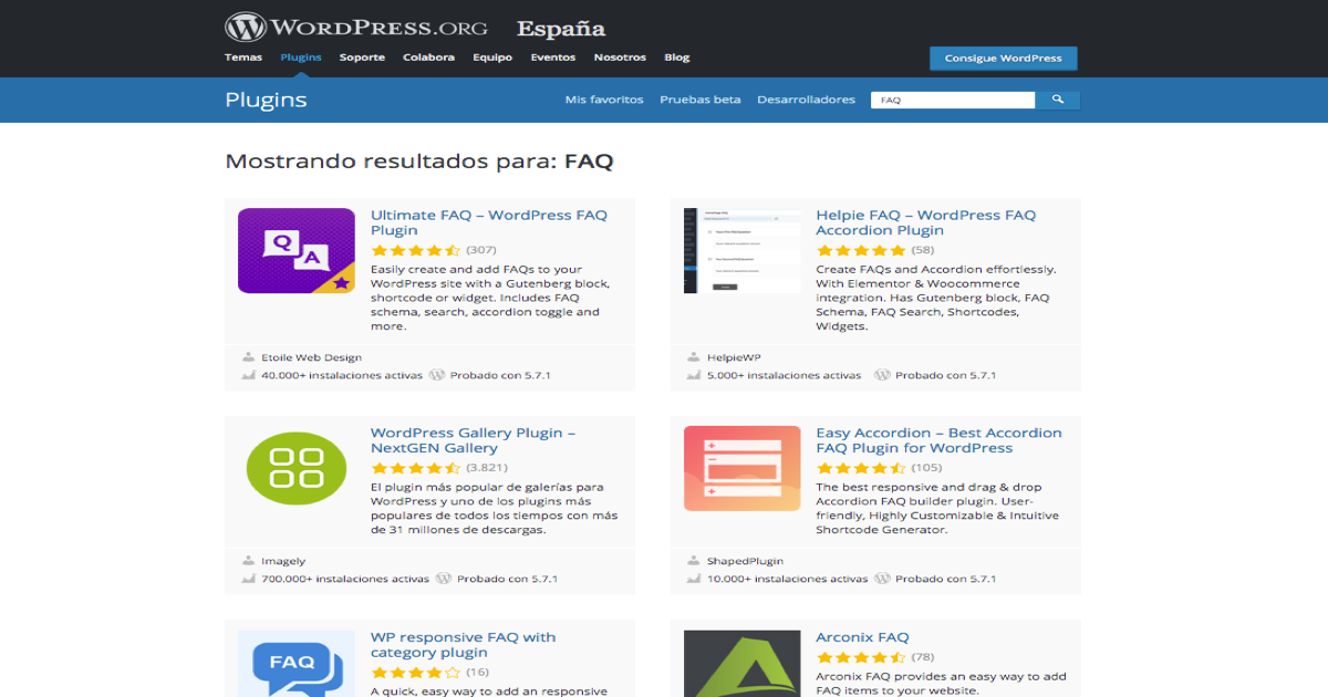 Búsqueda de plugins de preguntas frecuentes en la página web de plugins de WordPress