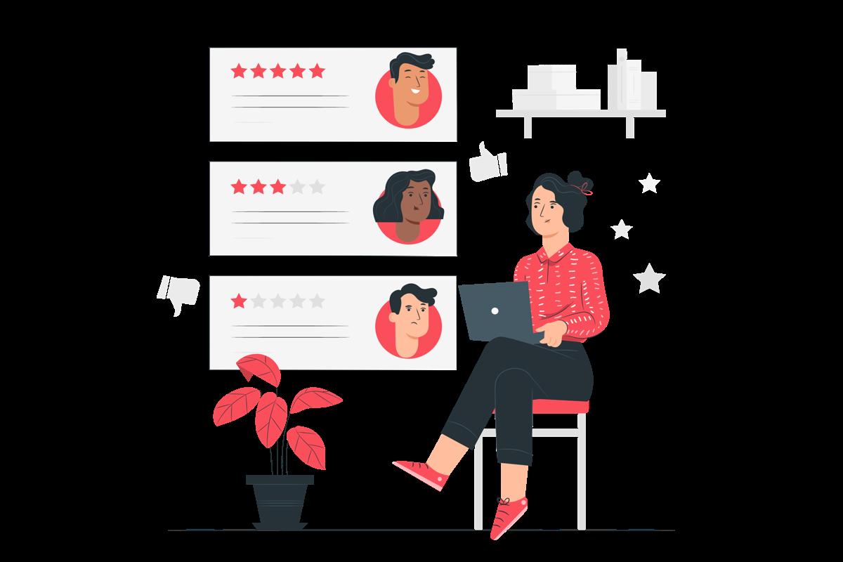 Mujer revisando las valoraciones con estrellas de un sitio web.