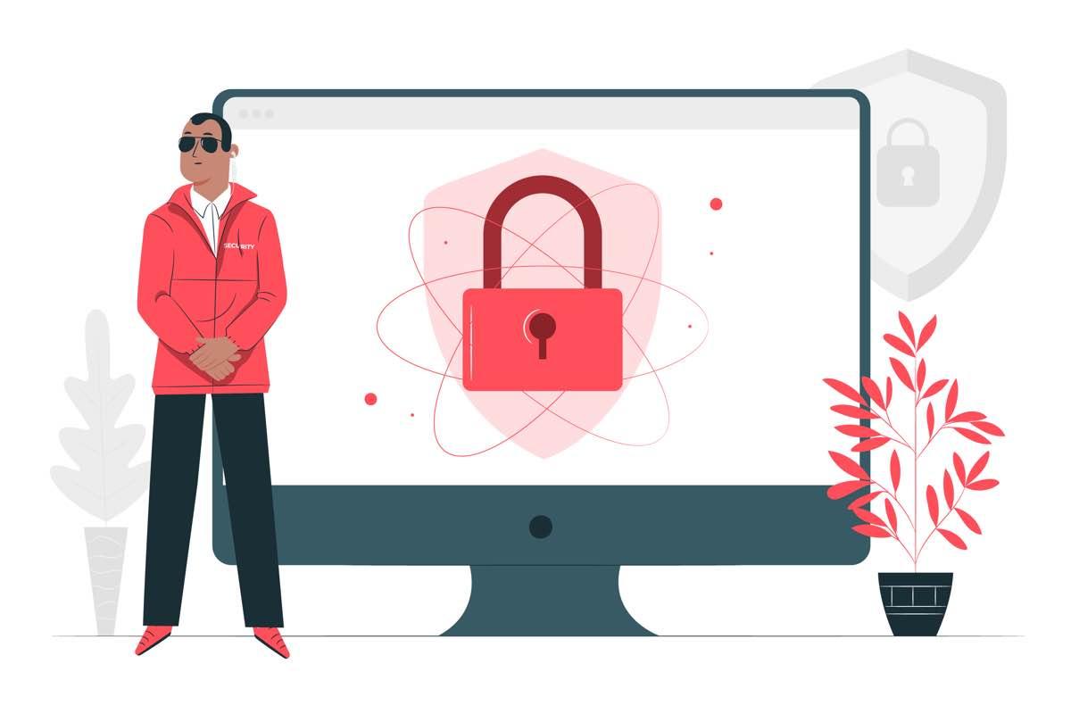 Icono de una persona protegiendo la pantalla de un ordenador en la que aparece un candado