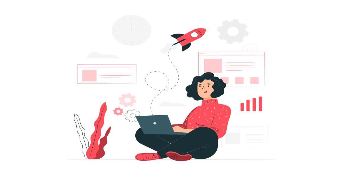 Ilustración de mujer sentada en el suelo con un ordenador portátil