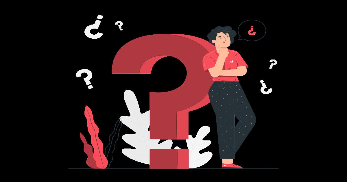 Ilustración de una mujer apoyada sobre un símbolo gigante de interrogación