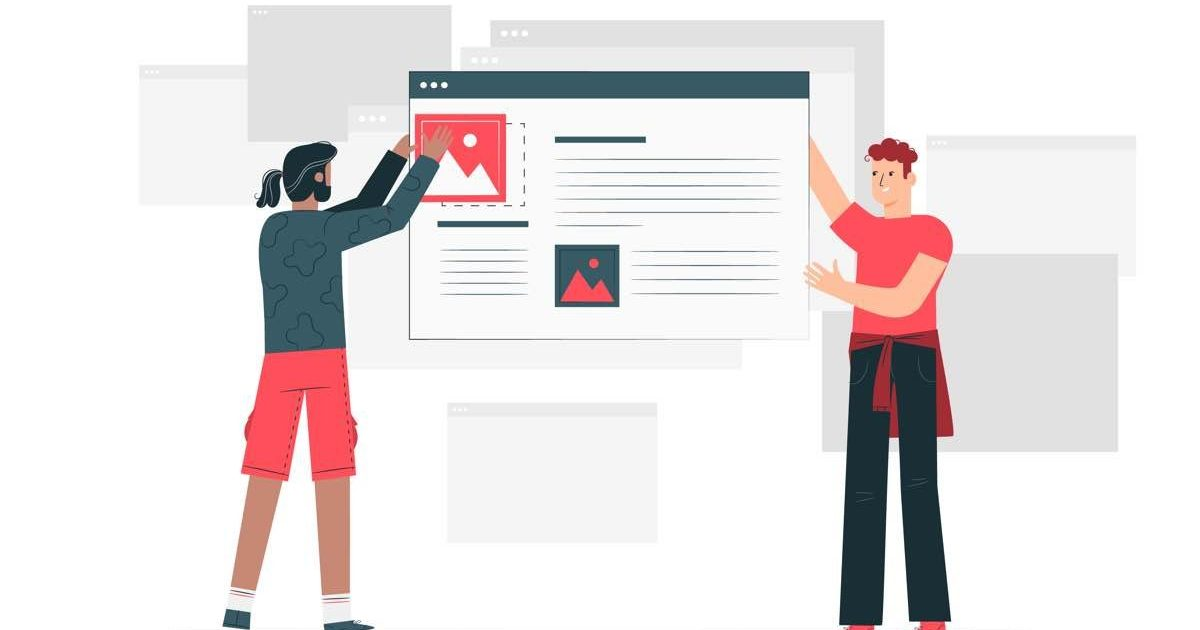 Ilustración de dos personas construyendo una página web