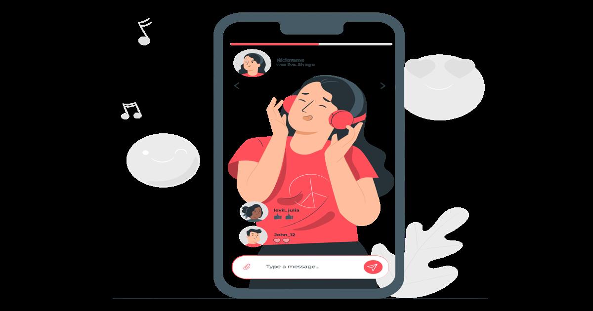 Ilustración mujer haciendo un streaming en redes sociales