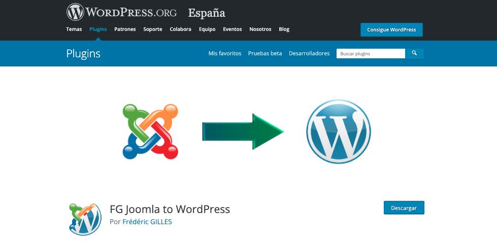 Página de descarga del plugin FG Joomla to WordPress