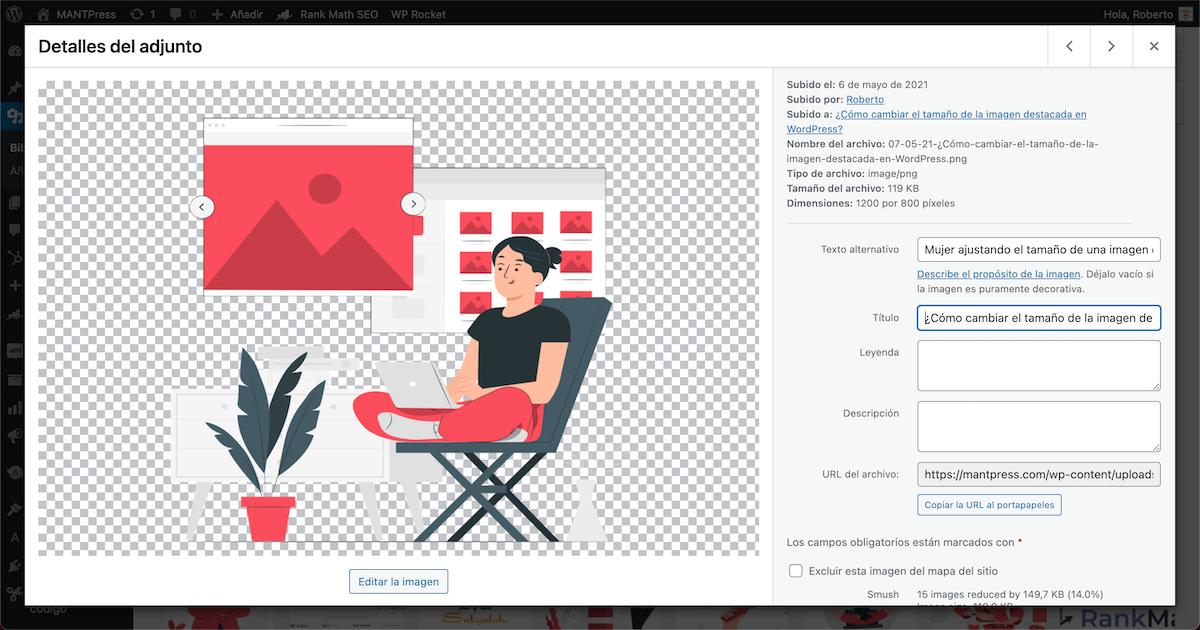 Ventana de WordPress en la cual se pueden completar los diferentes apartados de una imagen destacada para que sea accesible